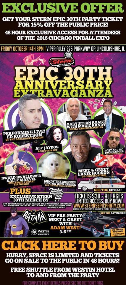 Stern Pinball Epic 30th Anniversary Extravaganza