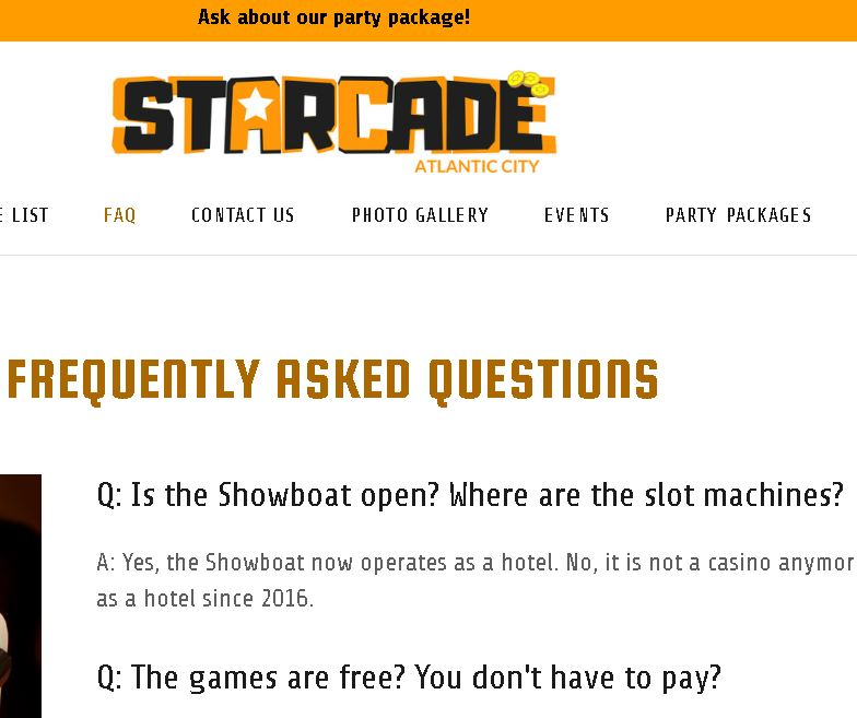 FAQ of the Day: Starcade, Atlantic City