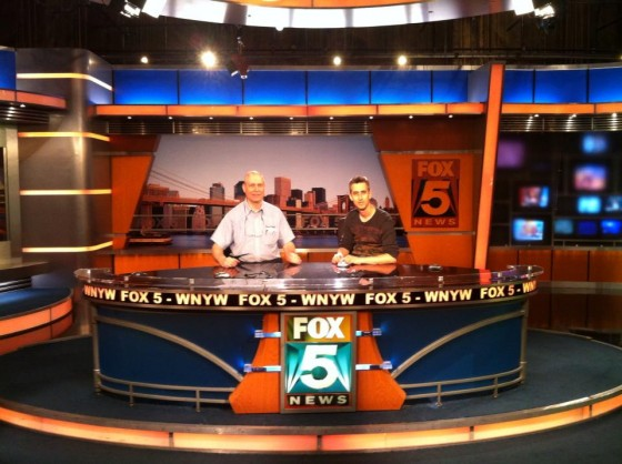 Paul Drabik and Steve Zahler at the Fox 5 news desk.