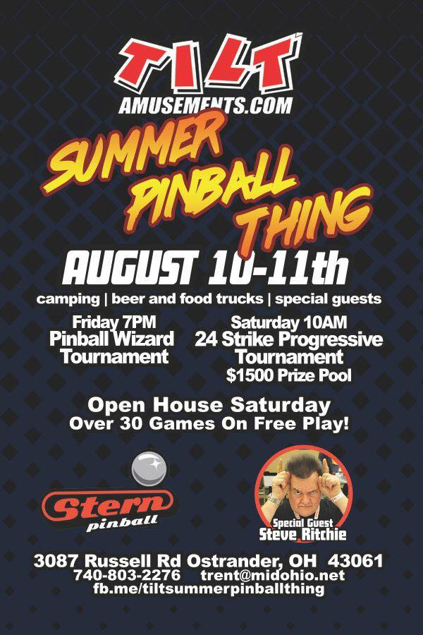 SUMMER PINBALL THING! August 10-11, 2018